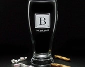 Gifts for Groomsmen - SQUARE MONOGRAM BEER Glasses & Date - 19 oz Etched Wedding Beer Glass by Distinct Glass Studio - Ships to Canada