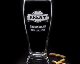 Gifts for Groomsmen - Wedding ARCH-CRESTED BEER Glasses - 19oz Etched Glass Engraved Glass Wedding Glasses by Distinct Glass Studio