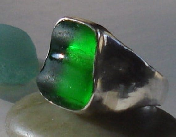 Emerald Green Sea Glass Sterling Silver Ring