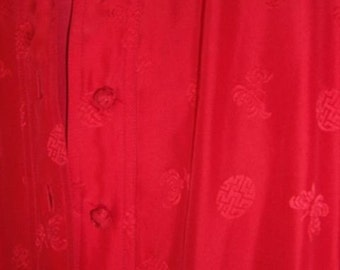 Red Silk Asian Style Gown by British Crown Colony
