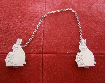 Vintage Sterling Silver Bunny Bib Clips
