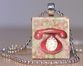 Pink Vintage Telephone Pendant made from an Upcycled Scrabble Tile (156A2)