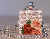 Vintage Roses in Red and Peach on an upcycled Scrabble Tile Pendant