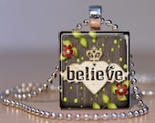 Americana BELIEVE on a Heart with Angel Wings and a Crown - made into a Pendant on an Upcycled Scrabble Tile (247B4)