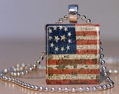 Vintage American Flag - Patriotic Upcycled Scrabble Tile Pendant