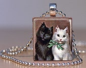 Ebony and Ivory - Black and White Kitty Cats - the Best of Friends -  Pendant made from an Upcycled Scrabble Tile