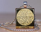 Cholera Vintage French Medical Microscope Slide Image made into a Pendant from an Upcycled Scrabble Tile