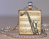 Vintage Sheet Music and Saxaphone Print Pendant made from an Upcycled Scrabble tile (143F2)