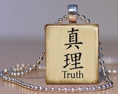 Vintage Style Japanese for Truth - Pendant made from an Upcycled Scrabble Tile (18C8)