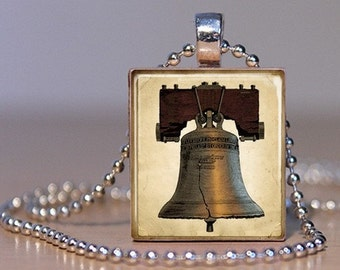 United States Liberty Bell - Patriotic Pendant with a Vintage Look on an Upcycled Scrabble Tile (79B2)