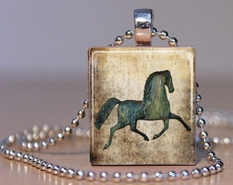 Rustic Horse Art Pendant made on an Upcycled Scrabble Tile for the Cowboy or Cowgirl in You