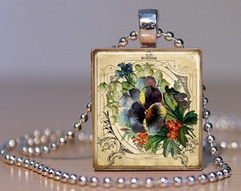 Vintage Pansy Flower Print Pendant - Upcycled Scrabble Tile for the Summer Garden (12H3)