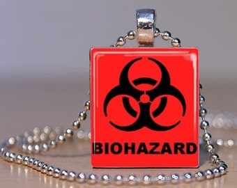 BIOHAZARD sign pendant or Tie Tack made from an Upcycled Scrabble Tile - Great Conversation Starter or Science Geek Magnet