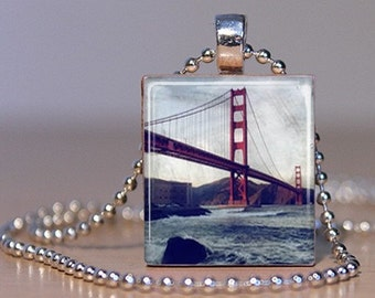 Vintage San Francisco Golden Gate Bridge Color Photo Pendant made from an Upcycled Scrabble Tile (252A2)
