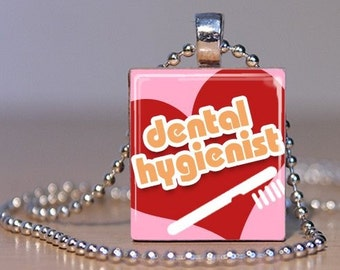 Pink Dental Hygienist with Red Heart Pendant made from an Upcycled Scrabble Tile (84F2)
