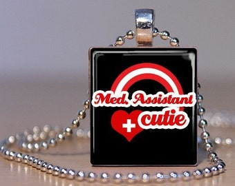 Medical Assistant Cutie - Cute Red and Black Pendant made from an Upcycled Scrabble Tile for the Awesome MA (109B3)
