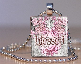BLESSED - Vintage Coutoure Style Pink and Gray Pendant or Lapel Pin made from an Upcyceld Scrabble Tile (246F9)