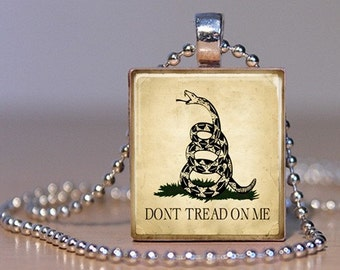 Don't Tread On Me - Political Pendant or Tie Tack made from an Upcycled Scrabble Tile (79D4)