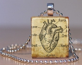 Vintage French Medical Book Image of an Anatomical Heart made into a Pendant on an Upcycled Scrabble Tile (04E4)
