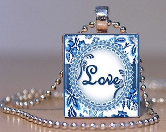 LOVE - French Blue Damask - Pendant or Tie Tack made from an Upcycled Scrabble Tile (170)