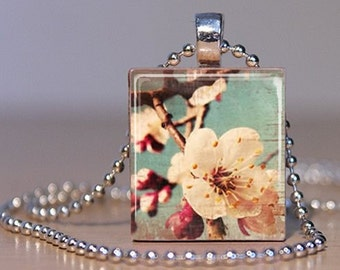 Retro photo of Cherry Blossoms on an Upcycled Scrabble Tile Pendant (252A5)