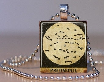 Pneumonia - Vintage French Medical Microscope Slide Image made into a Pendant from an Upcycled Scrabble Tile (04F4)