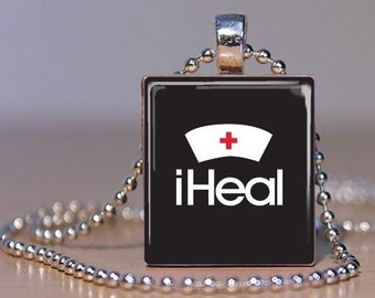 iHeal Nuring Pendant - Red Cross Retro Nurse Hat with Today's iAnything statement - Scrabble Tile Pendant (48F5)