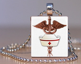 Bronze Caduceus Medical Symbol with Nurse's Hat  Pendant made from an Upcycled Scrabble Tile (003F2)