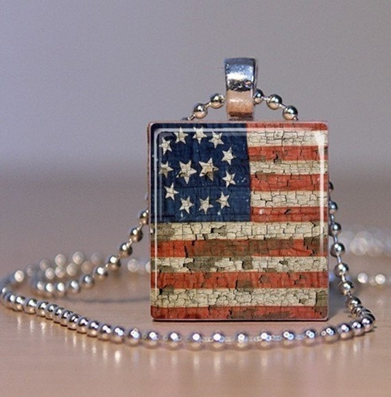 Vintage American Flag - Patriotic Upcycled Scrabble Tile Pendant or Tie Tack (102C4)