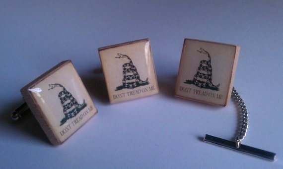 Don't Tread on Me Political Cuff Links and Deluxe Tie Tack Set made from Upcycled Scrabble Tiles (79D4)