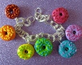 Rainbow Donut Charm Bracelet- UK Seller