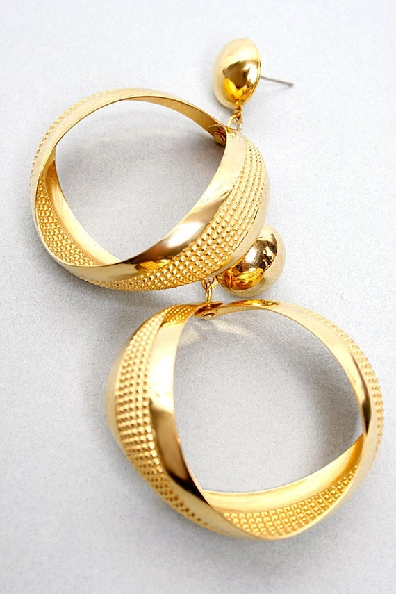 70's Diva Earrings in Gold Tone with Dotted Pattern