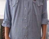 Wrangler chambray western pearl snap button men's shirt