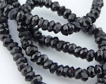 Black spinel faceted rondelle beads - 1/2 strand - sparkly black stunners