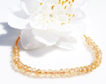 Tiny, yummy, delicate faceted citrine rondelle beads (30 pieces)