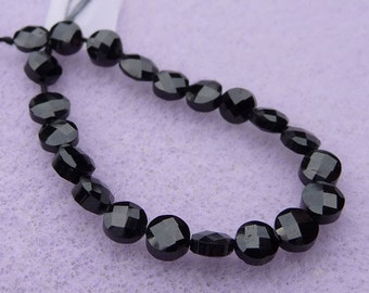 Sparkly black spinel faceted coin beads ( 20 stones)