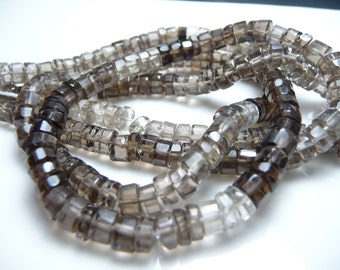 Smokey quartz faceted barrel heshi beads - full strand -  graduated smokey colors from deep to light