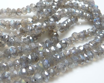 Amazing coated Labradorite faceted rondelles - 1/2 strand, 6.5 inches of sparkle and shine