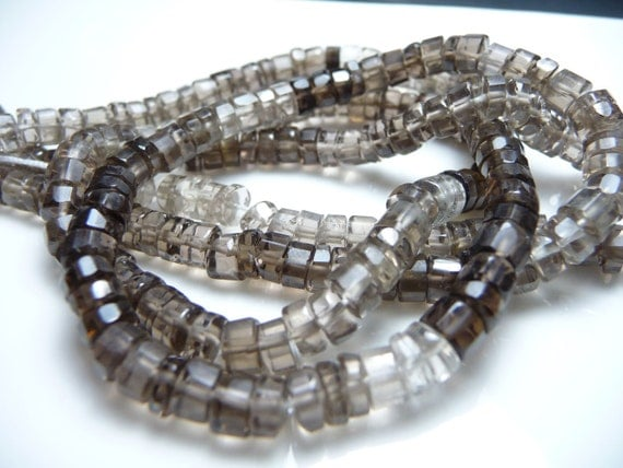 Smokey quartz faceted barrel heshi beads - full strand -  graduated smokey colors from deep to light