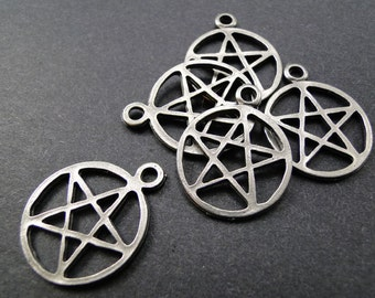 Pentacle pewter charms - 12 pcs  Wiccan Pagan