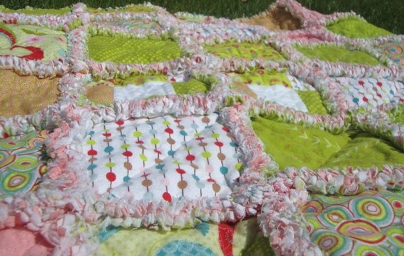 SALE Raggy Girl Toddler Baby Flannel Quilt Pink and Green 41 X48 In