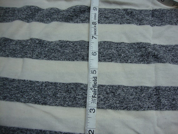 Grey and Cream wide strip KNIT fabric PIECES Vintage
