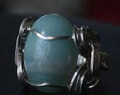 Amazonite Pharoahs Ring in Sterling Silver