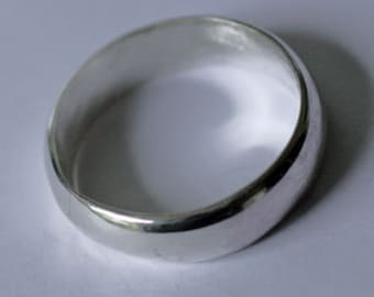 Sterling Silver Ring Band, Wedding or Fun with Wide Dome Size 5, 6, 7, 8, 10, 11, 12