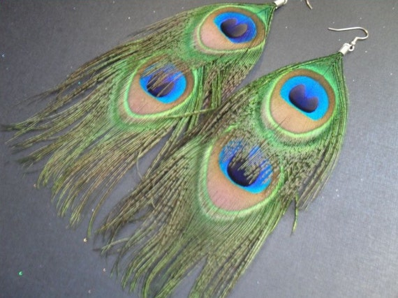 SALE double peacock feather earrings // boho chic, bohemian, peacock feather earrings, layered, long