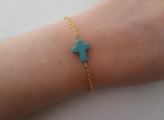 sideways cross bracelet // simple sideways turquoise cross on gold chain