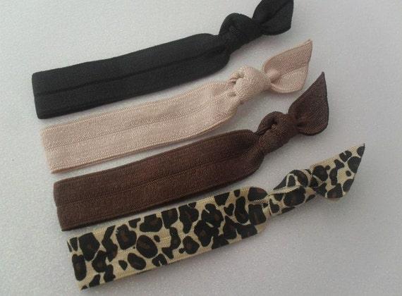 Set of 4 Elastic Hair Ties - leopard, black, tan, brown, can also be worn as wrist band bracelets