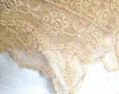 Beauties Rose Table Cloth - Vintage Cream Lace Table Cloth - Square. Scallopped Edges, No Holes or Rips