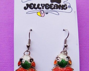 The Pink and Green Fish Earrings