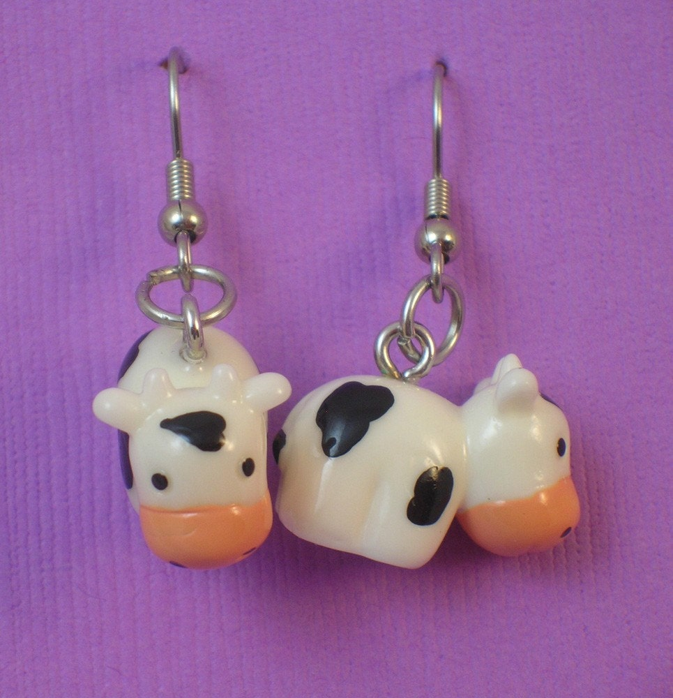Earrings on The Cow Earrings By Lokibean On Etsy